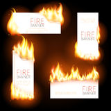 Set of advertisement banners with spurts flame. Set of advertisement banners with spurts of flame. Heat and burn, blaze and energy. Vector illustration Royalty Free Stock Images