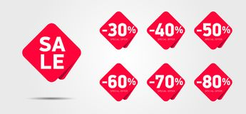Set of advertising discount labels with percentage numbers for sale royalty free illustration