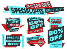 Set of advertising labels – SPECIAL OFFER 50% off stock image