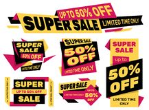 Set of advertising labels – SUPER SALE 50% off royalty free stock photos