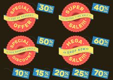 Set of advertising labels for super sale, special offer, mega sale and special discount royalty free stock image