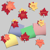 Set of advertising stickers with autumn leaves Stock Photos