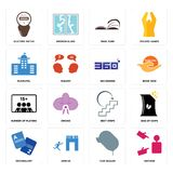 Set of advisor, car dealer, vocabulary, next steps, number players, 360 degree, municipal, page turn, electric meter icons. Set Of 16 simple editable icons such Royalty Free Stock Photo