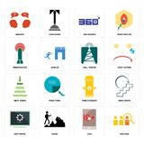 Set of advisor, xxx, buffering, fire hydrant, next steps, cell tower, penetration, 360 degree, inquiry icons. Set Of 16 simple  icons such as advisor, xxx, hiker Royalty Free Stock Photo