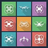 Set of aerial drone footage emblems. Vector Illustration Stock Photos