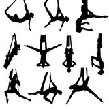 Set of aerial silk silhouettes Royalty Free Stock Photo