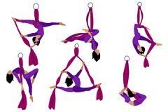 Free Set. Aerial With Silk Ribbon And Hammock. Girl. Aerial Yoga. Stretching Exercises Royalty Free Stock Images - 187669509
