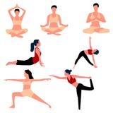 Set of aerobics and yoga poses. Vector . Set of aerobics and yoga poses. Vector royalty free illustration