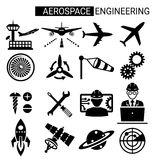 Set of aerospace engineering icon design for airplane. And aviation Royalty Free Stock Photos