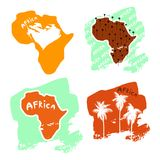 A set of africa cards in the style of a children`s illustration is decorated with palm trees and inscriptions. Stock Photos