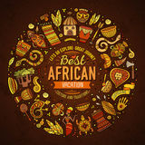 Set of Africa cartoon doodle objects round frame Stock Images