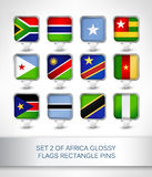 Set 2 of Africa glossy flags rectangle pins. Map pointer for maps,navigation application or website Royalty Free Stock Image