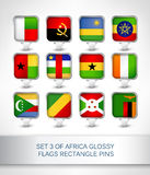 Set 3 of Africa glossy flags rectangle pins. Map pointer for maps,navigation application or website Royalty Free Stock Image