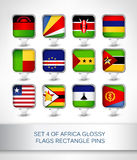 Set 4 of Africa glossy flags rectangle pins. Map pointer for maps,navigation application or website Stock Photo