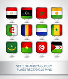Set 1 of Africa glossy flags rectangle pins Stock Photography