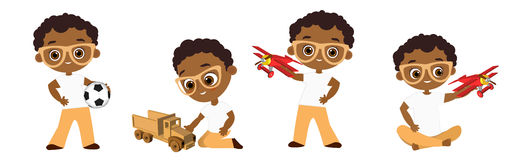 Set African American boy with glasses playing toy. Vector illustration eps 10 isolated on white background. Flat cartoon style. Set African American boy with vector illustration