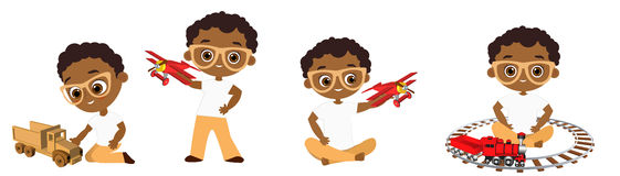 Set African American boy with glasses playing toy. Vector illustration eps 10 on white background. Flat cartoon style. Set African American boy with glasses vector illustration