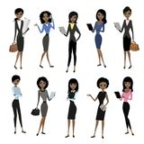 Set african american business lady. Beautiful woman in business clothes isolated on white background. Cartoon stock Vector illustration royalty free illustration