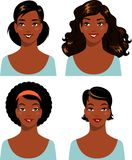 Set of african american ethnic beautiful woman Royalty Free Stock Photography