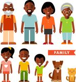 Set of african american ethnic family members in flat style Stock Images
