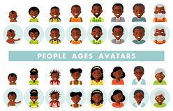 Set of african american ethnic people generations avatars at different ages. Man and woman african american ethnic aging icons - baby, child, teenager, young vector illustration