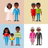 Set of african-american family, wedding, pregnant, old Stock Photography