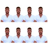 Set of African American man`s emotions. Vector cartoon illustration on a white background Royalty Free Stock Image