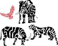 Set of african animal silhouettes. In traditional pattern Stock Images