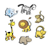 Set with the African animals. Set with the African animals: elephant, lion, giraffe, hippopotamus, zebra, tiger and monkey Royalty Free Stock Photo