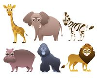 Set of African animals. Isolated on white background. Vector illustration