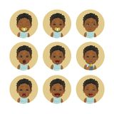Set of African child facial expressions. Afro American baby emoticons. Cute black skin toddler smiley. royalty free illustration