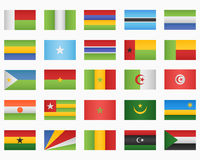 Set of African countries Flags Stock Photo