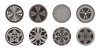 Set of African decorative elements. Tribal print. Set of African decorative elements. Round ornament pattern. Collection of mandalas in tribal style. Black and royalty free illustration
