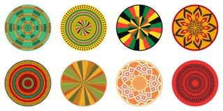 Set of African decorative elements. Tribal print. Set of African decorative elements. Round ornament pattern. Kente print stock illustration