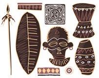 Set of African Design Elements. Shield, Jar, Spear, Mask, Ornament Elements, Drum royalty free illustration