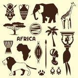 Set of african ethnic style icons in flat style Royalty Free Stock Images