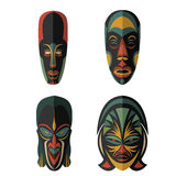 Set of African Ethnic Tribal masks on white background Stock Image