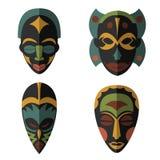 Set of African Ethnic Tribal masks on white background Stock Photos