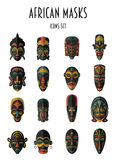 Set of African Ethnic Tribal masks Stock Photo