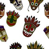 Set of African Ethnic Tribal masks on white background. Royalty Free Stock Images