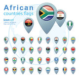 Set of African flags, vector illustration. Stock Images