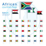 Set of African flags, vector illustration. Royalty Free Stock Image