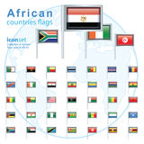 Set of African flags, vector illustration. Royalty Free Stock Photos