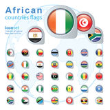 Set of African flags, vector illustration. Stock Photo