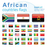 Set of African flags, vector illustration. Stock Photos
