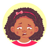 Set of african girls emotions. African girls emotions. Facial expression. Set of emoticons. Sad stock illustration