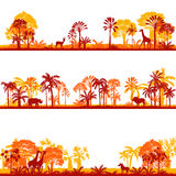 Set of african landscapes. Palms silhouettes and wild animals, exotic trees and giraffes, hand drawn vector design elements Stock Images