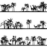 Set of african landscapes. Palms silhouettes and wild animals, exotic trees and giraffes, hand drawn vector design elements Stock Photo