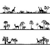 Set of african landscapes. Palms silhouettes and wild animals, exotic trees and giraffes, hand drawn vector design elements Royalty Free Stock Photo