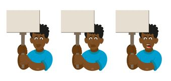 Set African man protest. Set flat cartoon characters black african man with different emotion people which keep a sign without slogan take part in protest for Royalty Free Stock Photo